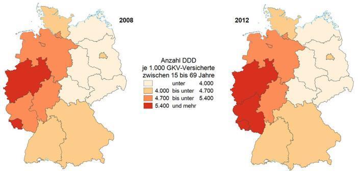 Kaum Bewegung: Antibiotika-Verordnung bei Erwachsenen zwischen 15 und 69 Jahren im ambulanten Bereich in den Jahren 2008 und 2012. DDD = Definierte Tagesdosis. © Versorgungsatlas