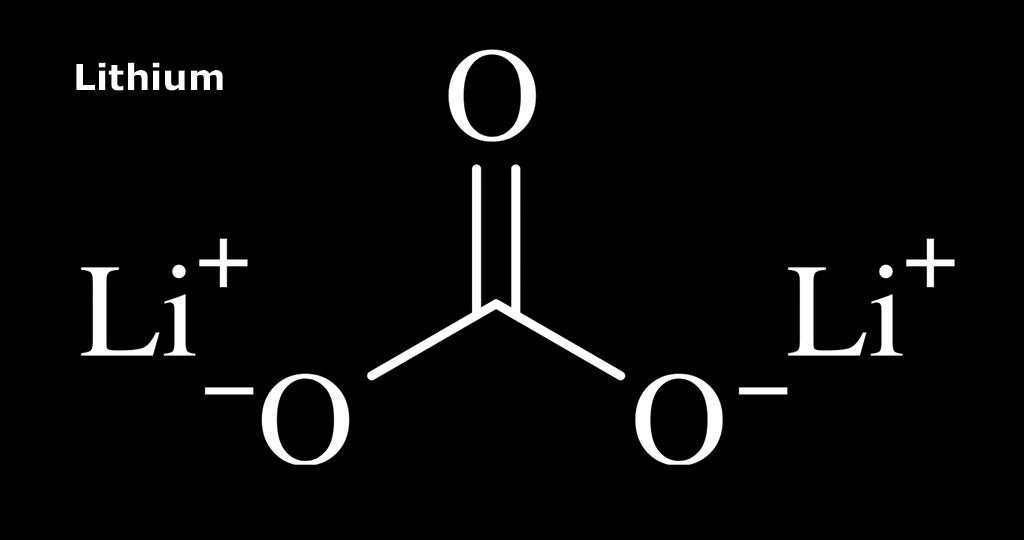 Strukturformel von Lithium Carbonat © Brenton / wikimedia