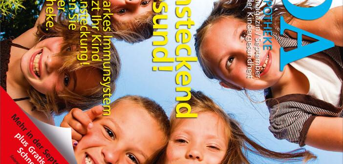 """Infokampagne """"Ansteckend gesund!"""": Das Kundenmagazin DA - DIE APOTHEKE widmet dem Thema einen eigenen Schwerpunkt und bietet darüber hinaus Gratis-Fiebertestkarten an."""
