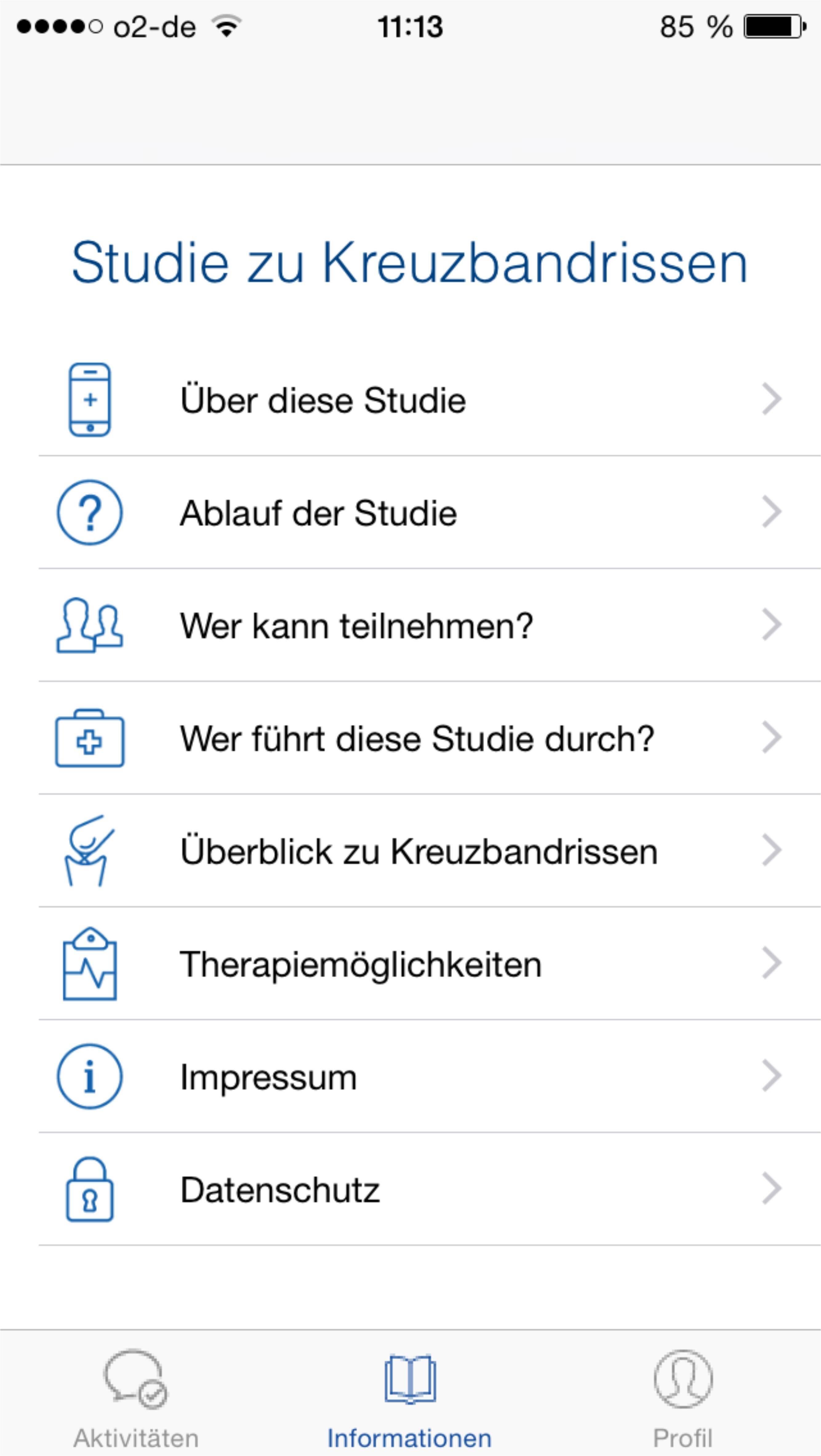 """Ein übersichtliches App-Menü führt die Teilnehmer durch die Kreuzbandriss-Studie """"Back on Track"""" © Universitätsklinikum Freiburg"""