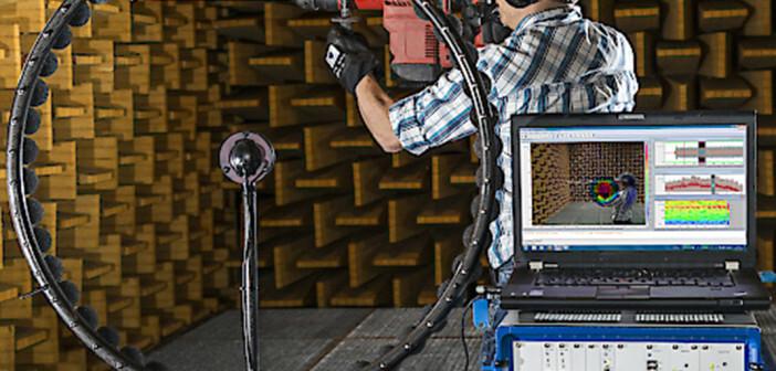Schwerhörigkeit ist vermeidbar: Sichtbar machen von bestehenden Lärmquellen mittels akustischer Kamera. © R.Reichhart / AUVA