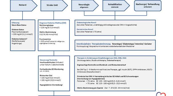 Vorschlag zur Glukosesteuerung von der Akutbehandlung bis zur Nachsorge bei Diabetes und Schlaganfall. © Stiftung DHD