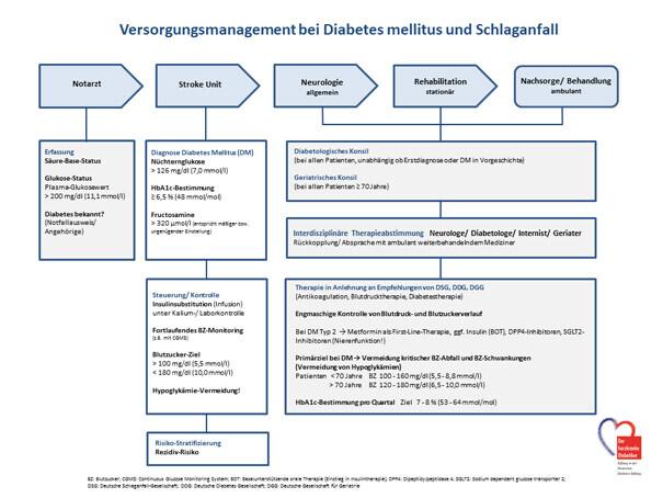 Vorschlag zur Glukosesteuerung von der Akutbehandlung bis zur Nachsorge © Stiftung DHD
