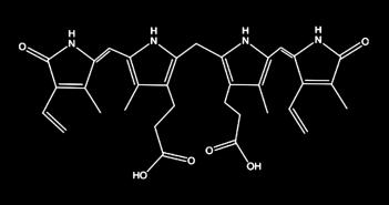 Bilirubin ist ein Abbauprodukt des roten Blutfarbstoffes.