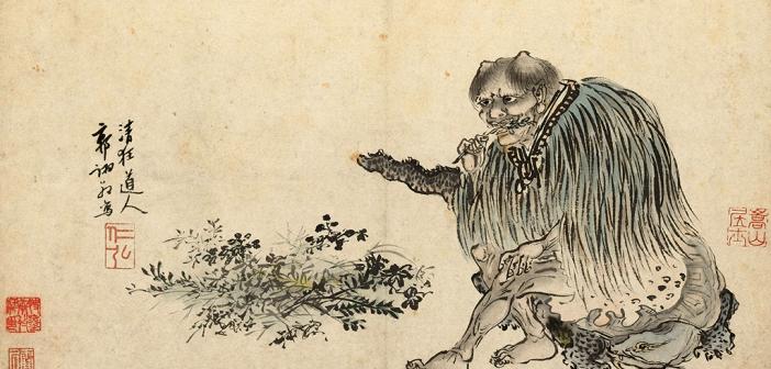 Der göttliche Landwirt Shen-nong – ein Mischwesen mit Büffelhörnern – wird als Urheber der TCM angesehen. © Guo Xu (1456–c.1529) – Telling Images of China (exhibit) / Dublin: Chester Beatty Library.
