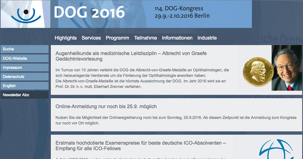 Website des DOG 2016 http://dog2016.dog-kongress.de/