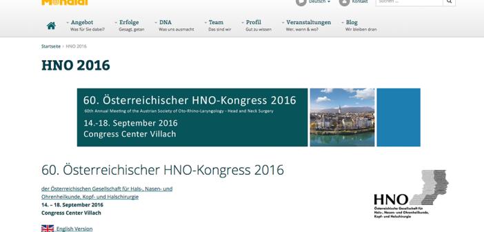 HNO-Kongress vom 14. bis 18. September 2016 im Congress Center Villach.