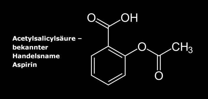 Strukturformel der Acetylsalicylsäure – bekannter unter seinem ersten Handelsnamen Aspirin.