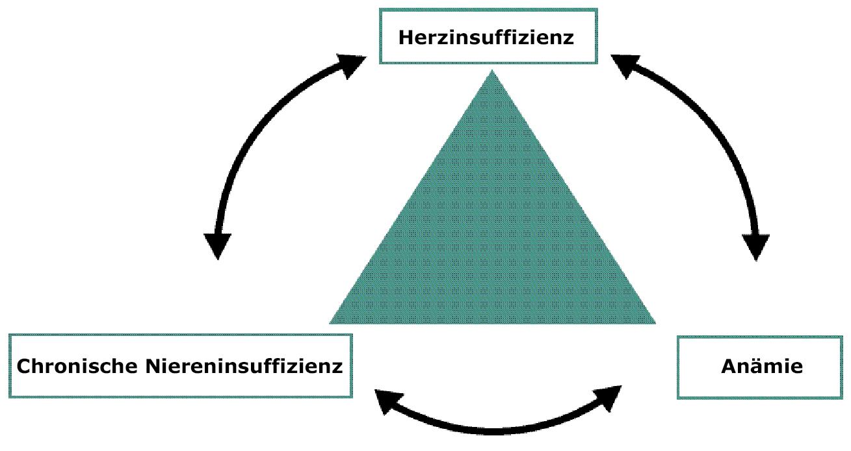 Abb. 1: Kardiorenales Syndrom: Chronische Niereninsuffizienz, Herzinsuffizienz, Anämie