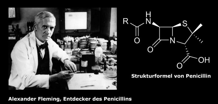 Montage Alexander Fleming und Strukturformel Penicillin. Montage AFCOM. © Calibuon / Wikibooks