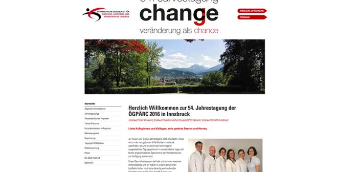 Website der 54. Jahrestagung der Österreichischen Gesellschaft für Plastische, Ästhetische und Rekonstruktive Chirurgie – ÖGPÄRC – in Innsbruck.