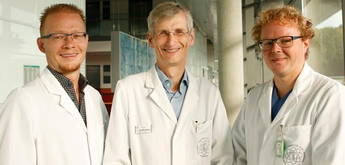 Bauchspeicheldrüsen-Krebs-Team: (v.l.) Prof. Dr. Alexander Kleger, Prof. Dr. Thomas Seufferlein, Dr. Andreas W. Berger © Universitätsklinikum Ulm