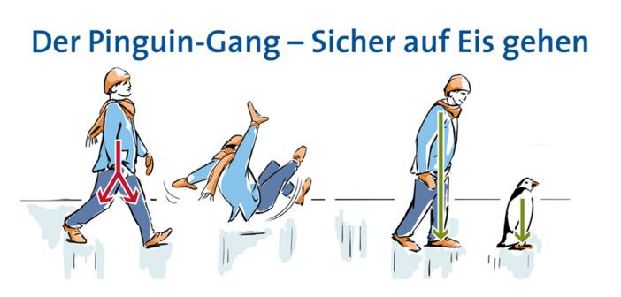 Mit dem Pinguin-Gang sicher auf Eis. © DGOU