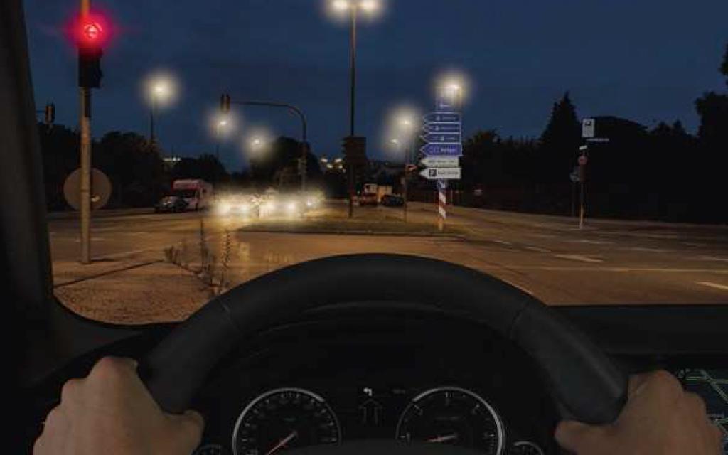 Abbildung 2: Darstellung der unterschiedlichen Anforderungen, wie zum Beispiel Entfernungen, Helligkeiten, Kontraste und Blickrichtungen, beim Autofahren. © Rodenstock