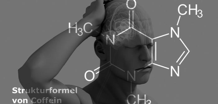 Coffein-haltige Schmerzmittel bei Schmerzen im Blickpunkt. © Sebastian Kaulitzky / shutterstock.com (Bild); AFCOM (Formel, Montage).