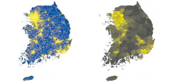 Satellitenbilder zur Lichtverschmutzung. Hellere Farben zeigen eine stärkere Lichtverschmutzung an. © Journal of clinical Sleep Medicine
