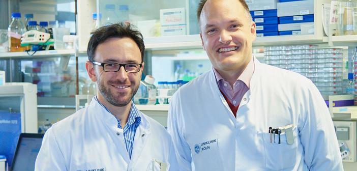 Protein Ubiquilin 4, UBQLN4, genauer untersucht. (v.l.) Dr. Ron Jachimowicz und Univ.-Prof. Dr. Christian Reinhardt © Uniklinik Köln
