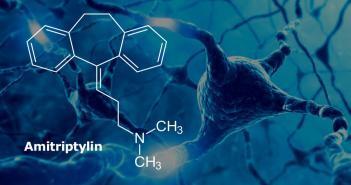 Strukturformel von Amitriptylin / Antidepressiva gegen neuropathische Schmerzen © ktsdesign / shutterstock.com / afcom-Montage