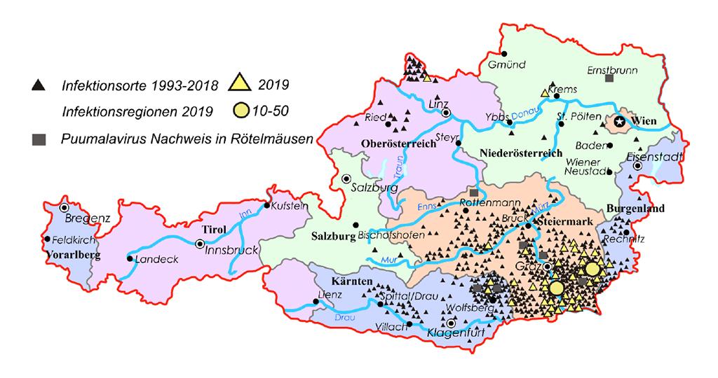 Abbildung 2: Infektionsorte von Puumala-Virus-Infektionen in Österreich