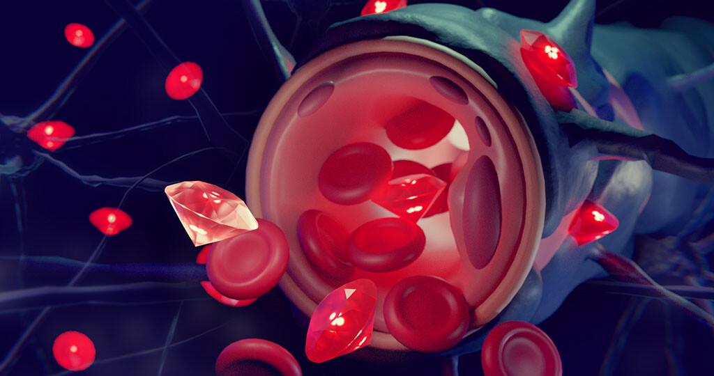 Mit Albumin beschichtete Nanodiamanten können die Blut-Hirn-Schranke überwinden und gezielt für Diagnose- und Therapiezwecke im Gehirn verwendet werden. © MPI-P / CC-BY-SA