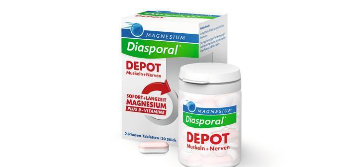 """Magnesium-Diasporal Depot Muskeln + Nerven kann den Körper mit hochdosiertem Magnesium plus Vitamin B-Komplex versorgen - für entspannte Nerven und vitale Muskeln - jetzt in der Apotheke. Verwendung des Fotos nur im Textzusammenhang mit dieser Pressemeldung und mit Nennung der ©Bildquelle genehmigt und kostenfrei. Die anderweitige Verwendung ist ausgeschlossen. Weiterer Text über ots und www.presseportal.de/nr/79747 / Die Verwendung dieses Bildes ist für redaktionelle Zwecke honorarfrei. Veröffentlichung bitte unter Quellenangabe: """"obs/Protina Pharmazeutische GmbH/©Magnesium-Diasporal Depot"""""""