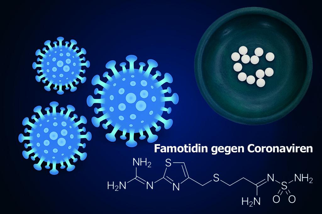 Hoffnung in der Corona-Pandemie bei der Suche nach effektiven Medikamenten: Vielversprechende Ergebnisse zur Wirkung von Famotidin bei Covid-19. © AFCOM.com (Montage); Harbin / wikimedia; BW Folsom / Biod /shutterstock.com